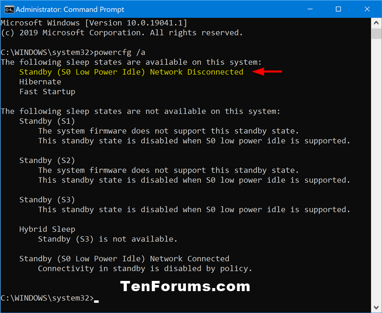 How to Check if Connected or Disconnected Modern Standby in Windows 10-powercfg_network_disconnected.png