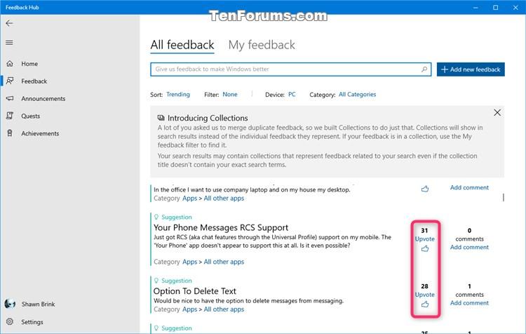 How to Send Feedback to Microsoft with Feedback Hub app in Windows 10-upvote.jpg