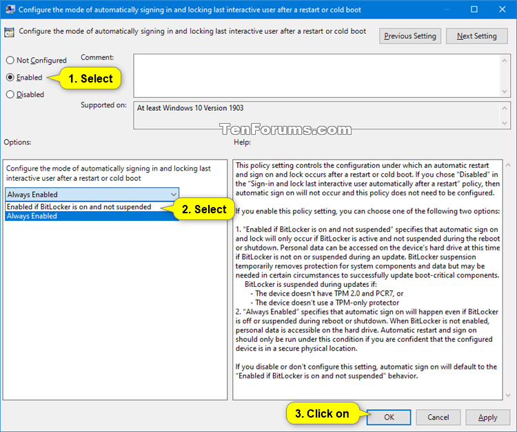 Configure Mode Of Auto Sign In And Lock After Restart In Windows 10 Tutorials
