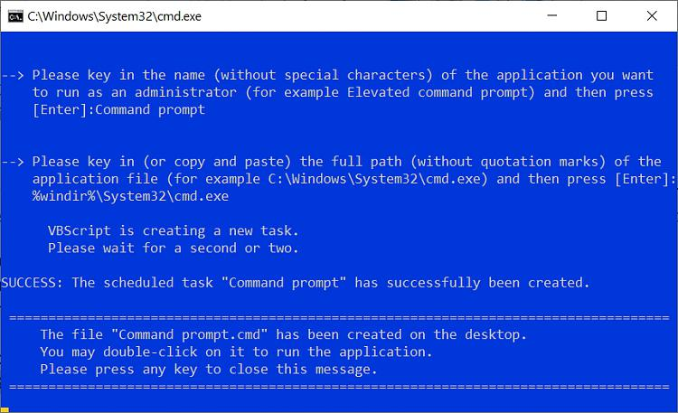 Create Elevated Shortcut without UAC prompt in Windows 10-success.jpg