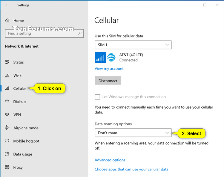 How To Enable Or Disable Cellular Data Roaming In Windows 10 Tutorials