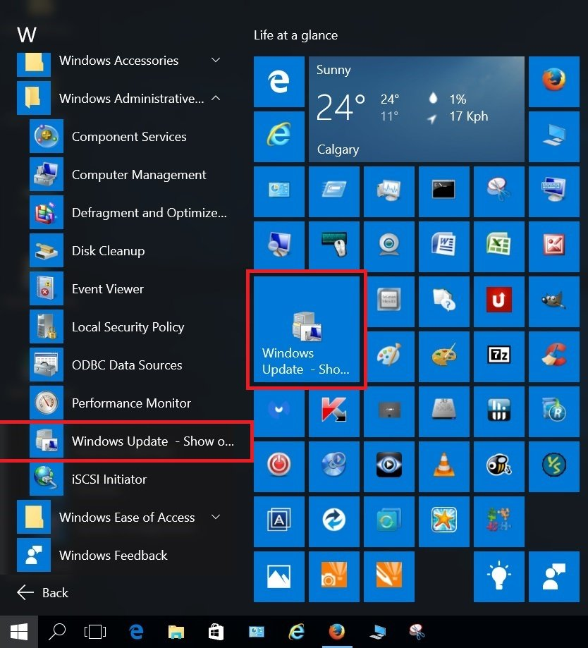hide or show windows updates in windows 10