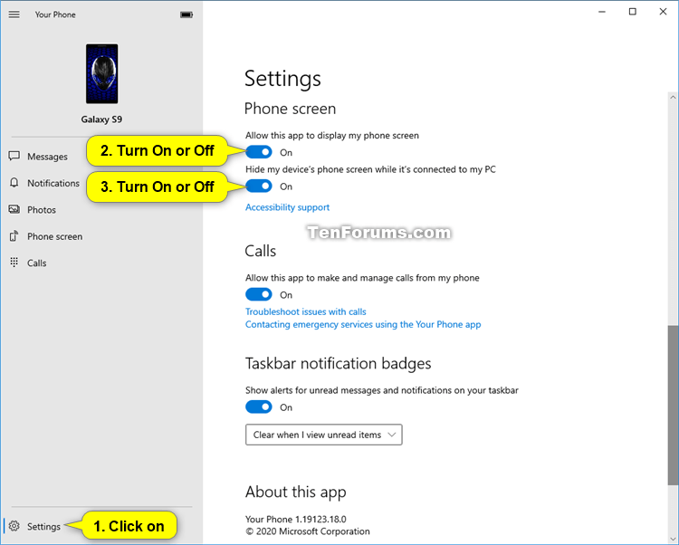 Turn On Or Off Mirror Phone Screen In Your Phone App On Windows 10 Tutorials