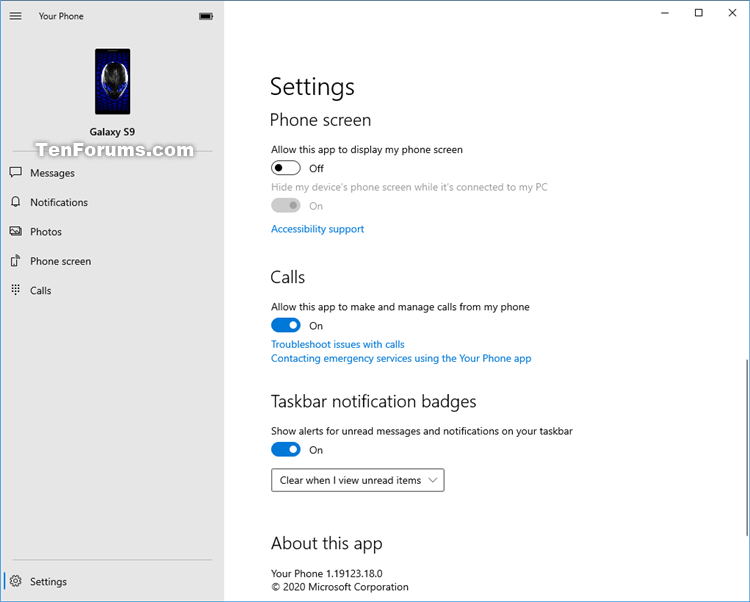 Turn On or Off Mirror Phone Screen in Your Phone app on Windows 10-your_phone-phone_screen-2.png