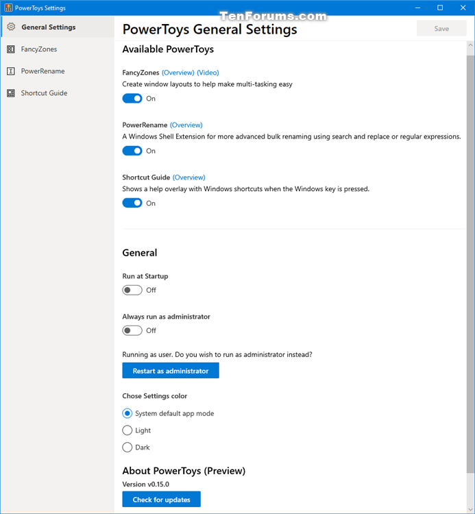 How to Download and Install Microsoft PowerToys in Windows 10-powertoys_settings-1.png