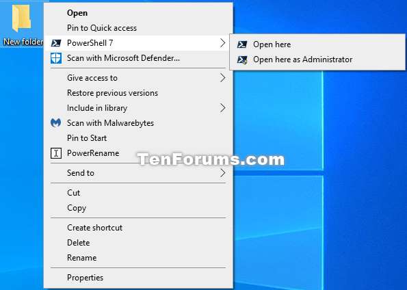 How to Install PowerShell 7 in Windows 7, Windows 8, and Windows 10-powershell_7_context_menu.png