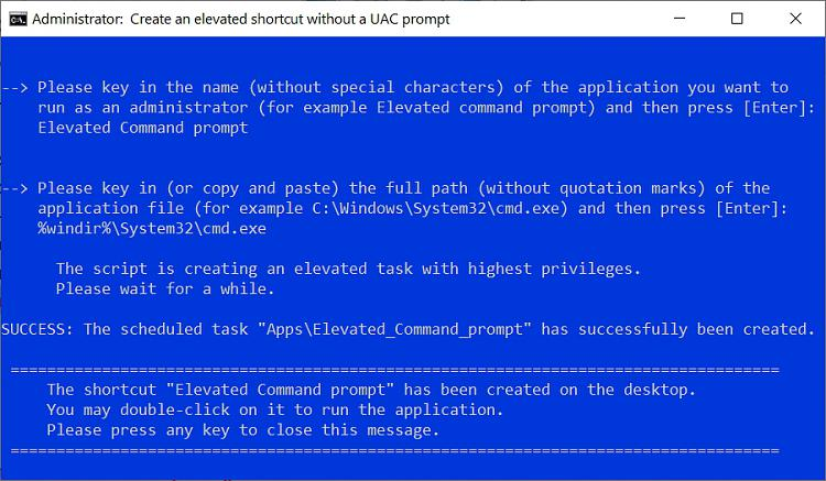 Create Elevated Shortcut without UAC prompt in Windows 10-elevated_shortcut_script.jpg