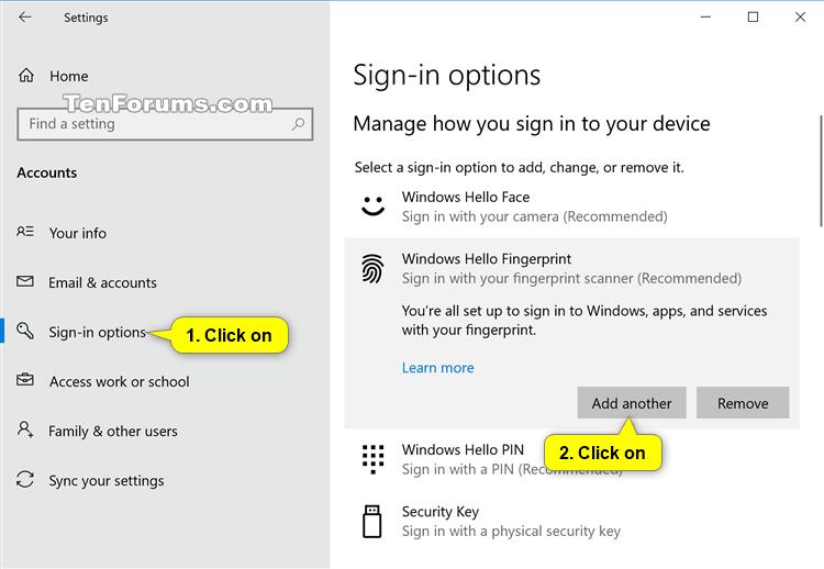 Chỉ dẫn Thêm / Xóa Vân Tay Cho tài khoản Trong windows 10