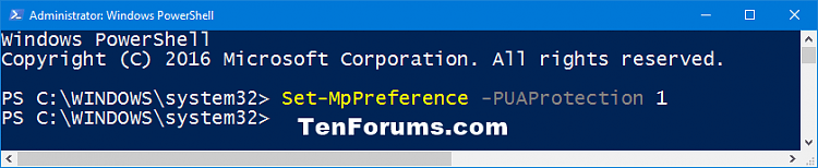Enable or Disable Windows Defender PUA Protection in Windows 10-windows_defender_pua_powershell.png