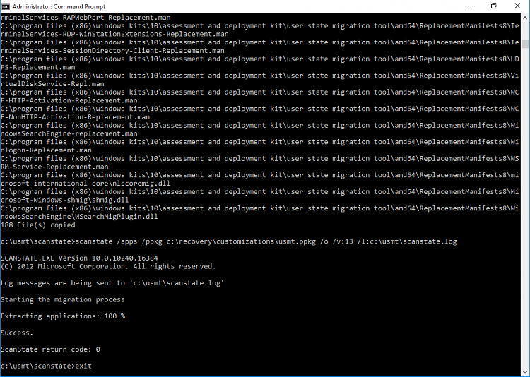 Create Provisioning Package in Windows 10-scanstate_command_andexit_a.png