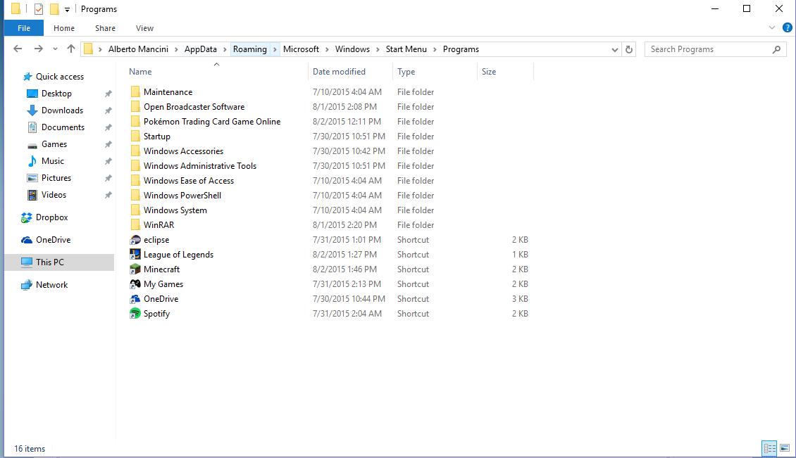 delete start menu folder windows 10