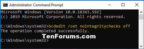 How to Enable or Disable Driver Signature Enforcement in Windows 10-nointegritychecks_off.png