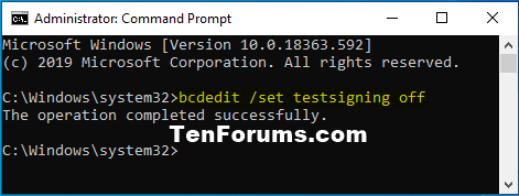 How to Enable or Disable Driver Signature Enforcement in Windows 10-testsigning_off.png