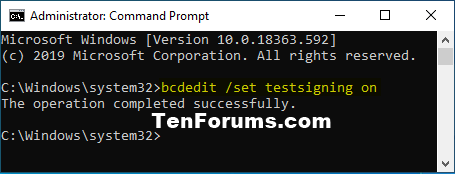 How to Enable or Disable Driver Signature Enforcement in Windows 10-testsigning_on.png
