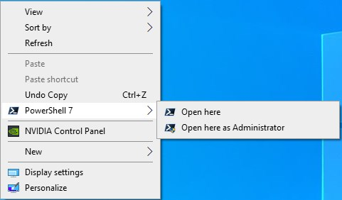 How to Install PowerShell 7 in Windows 7, Windows 8, and Windows 10-powershell_7_context_menu.jpg