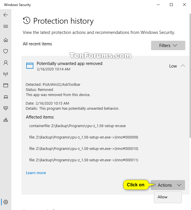 View Protection History of Microsoft Defender Antivirus in Windows 10-windows_security_protection_history-5.png