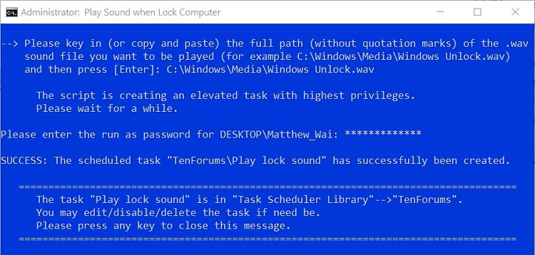 How to Play Sound when Lock Computer in Windows-success.jpg