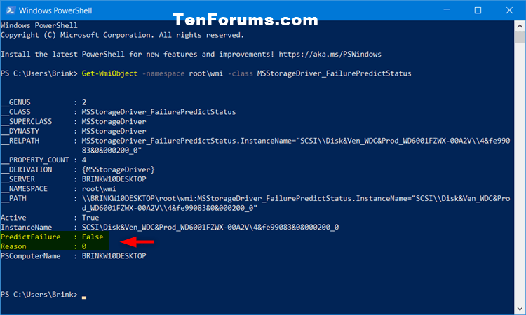 How to Check Drive Health and SMART Status in Windows 10-drive_failurepredictstatus_powershell.png