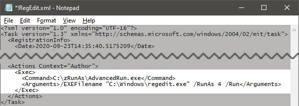 Create Elevated Shortcut without UAC prompt in Windows 10-notepad-task-xml.jpg