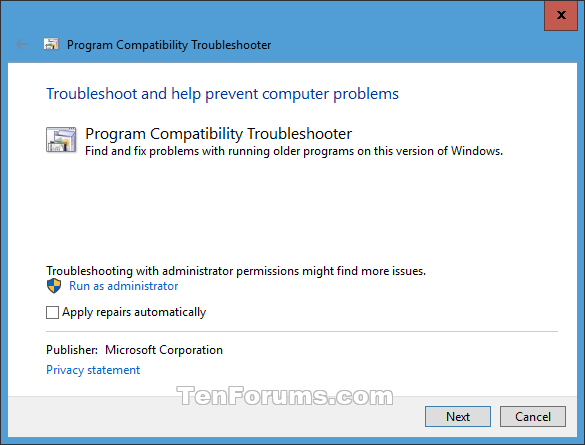 Name:  Program_Compatibility_Troubleshooter-3.png Views: 101031 Size:  18.9 KB