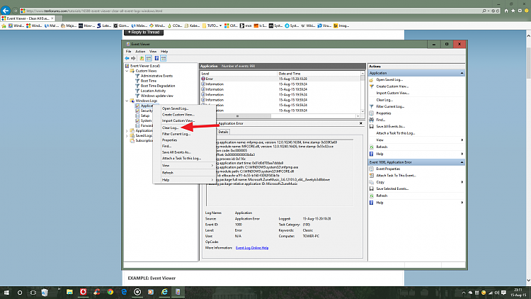 how to clear event log windows 7