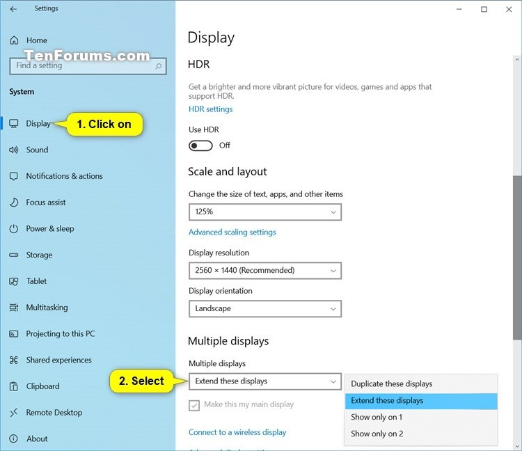 Display Switch - Change Presentation Mode to Project in Windows 10-multiple_displays_in_settings.jpg