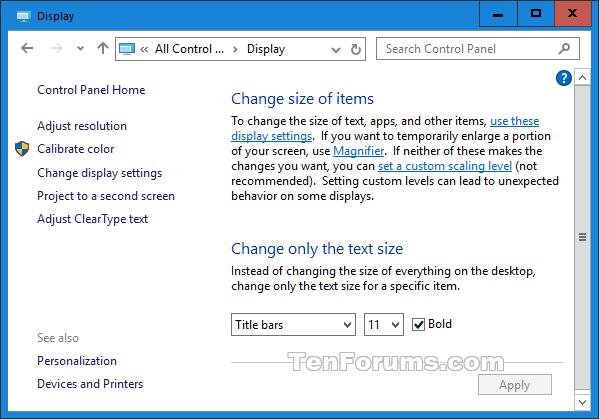 Change Title Bar Text Size in Windows 10 | Tutorials