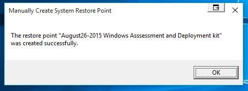 Name:  CREATE RESTORE POINT WITH MESSAGE W10 Created.jpg Views: 17323 Size:  21.6 KB