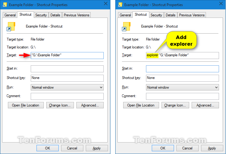 how to create shortcut windows 10