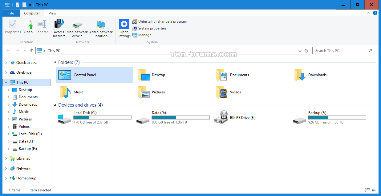 Control Panel - Add or Remove from This PC in Windows 10 ...
