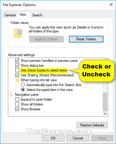 Turn On or Off Select Items using Check Boxes in Windows 10