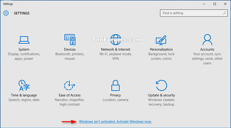 Check Activation of Windows 10-settings_not_activated-1.png