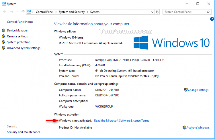Check Activation of Windows 10-system_not_activated.png