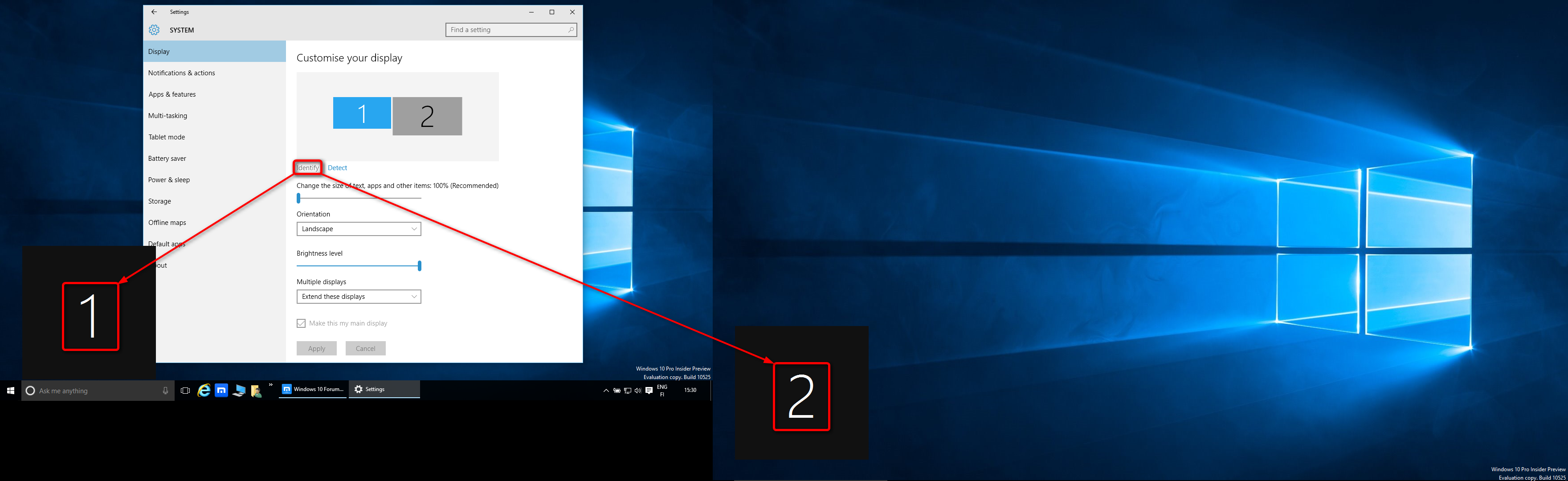 Multiple Displays - Change Settings and Layout in Windows 10