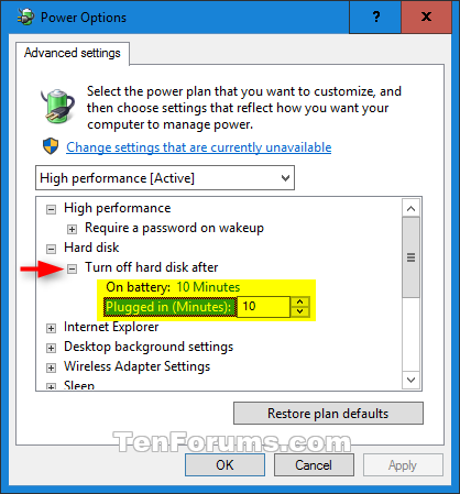 Hard disk turn off after idle in windows 10 windows 10 tutorials