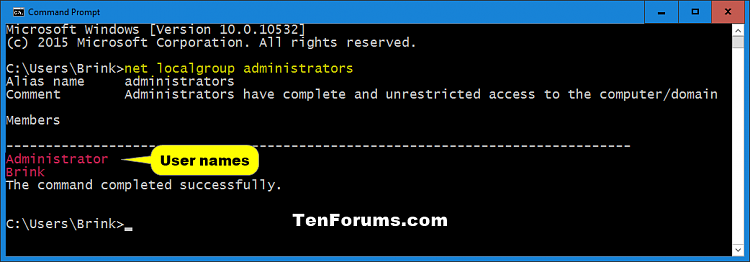 Determine Account Type in Windows 10-list_administrators_command.png