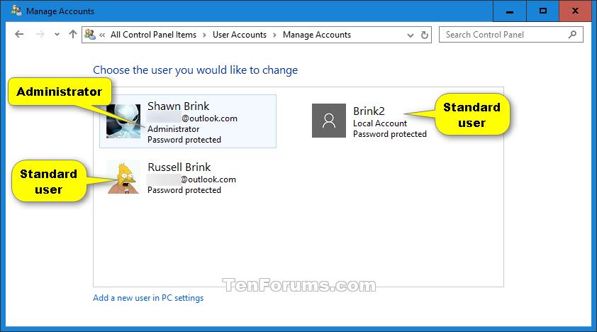 Determine Account Type in Windows 10 | Tutorials