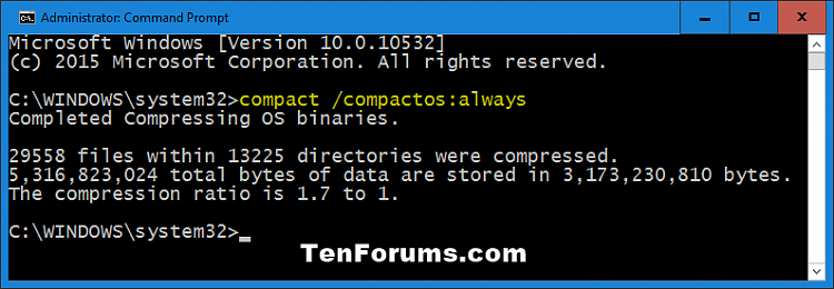 Compress or Uncompress Windows 10 with Compact OS-compress_command.png