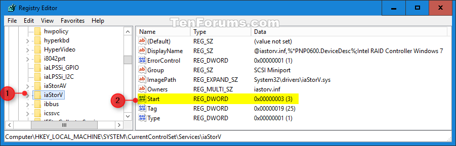 Ahci enable in windows 8 and windows 10 after for Service registry
