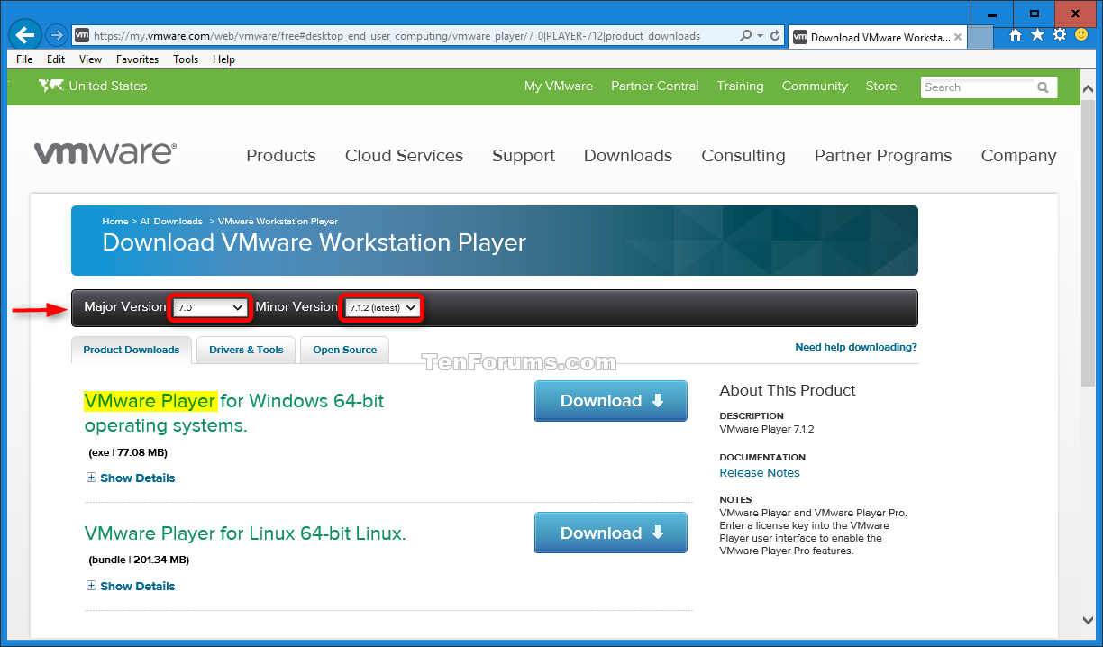 vmware player download windows 7 64