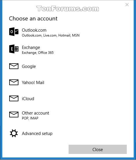 Mail app - Add or Delete Account in Windows 10 - Windows ...