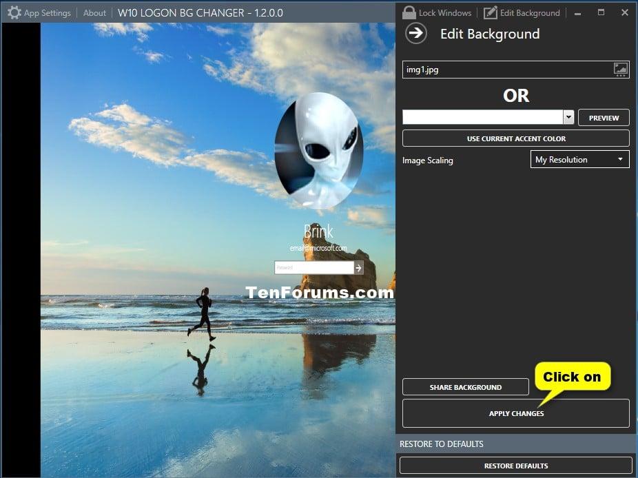 windows 8 how to change login screen image