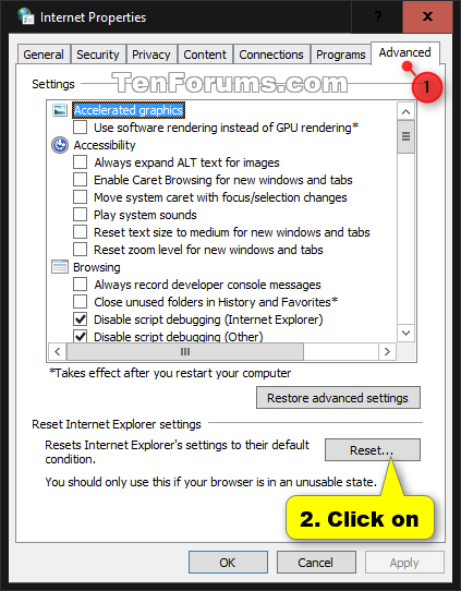 Reset Internet Explorer to Default in Windows 10 - Windows 10 ...