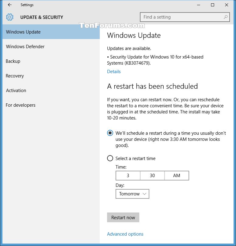Choose When to Restart for Windows Update in Windows 10 ...