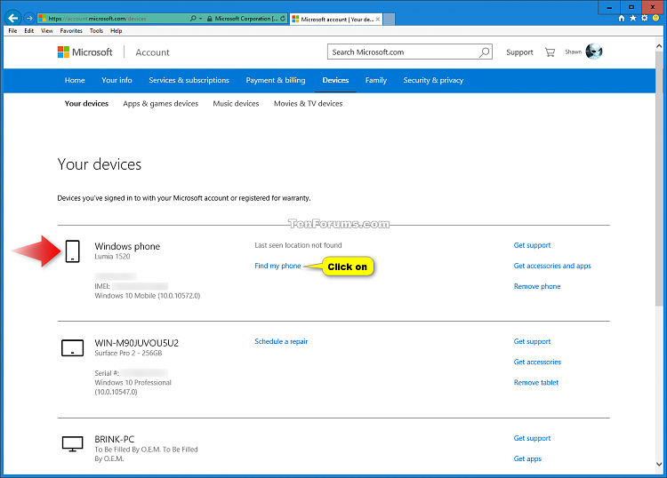 Windows 10 Mobile Phone - Erase Online-your_devices.png