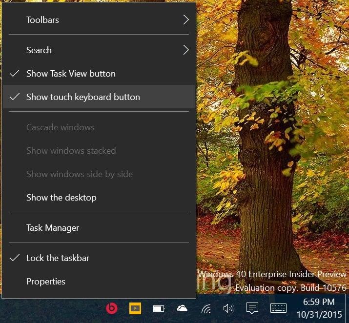 Hide or Show Touch Keyboard Button on Taskbar in Windows 10-right_click_taskbar.jpg