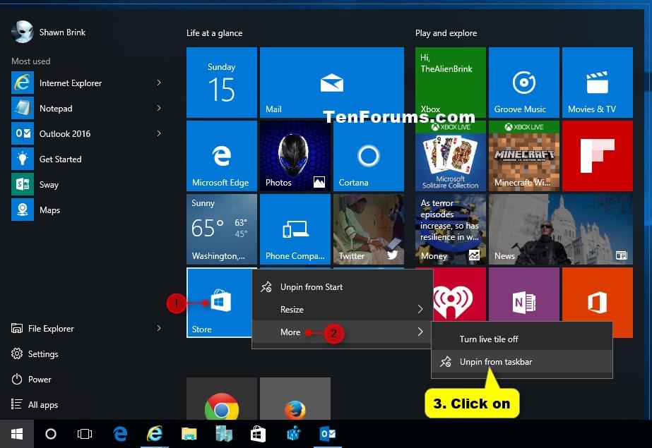 Pin to taskbar' and 'Unpin from taskbar' Apps in Windows 10