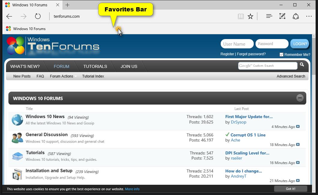 Turn On or Off Favorites Bar in Microsoft Edge in Windows 10