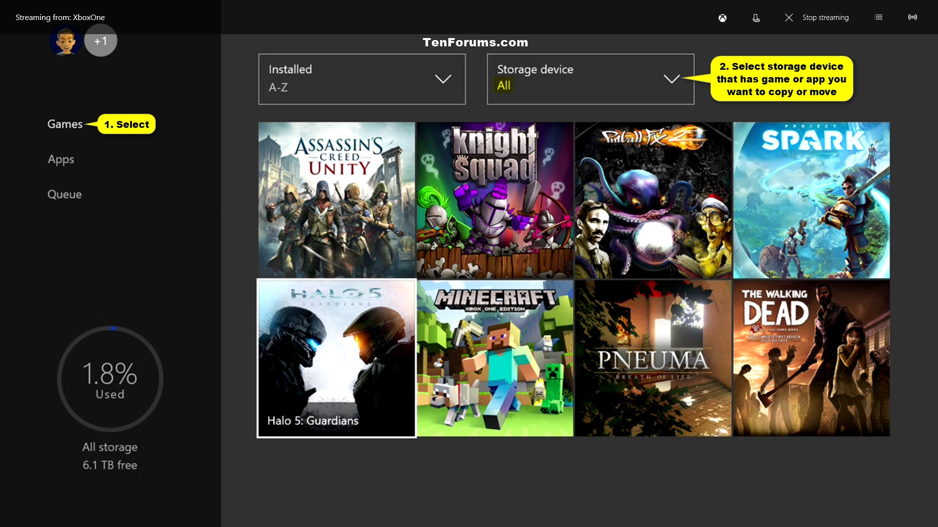 Xbox One Games S : Move or copy xbox one games and apps between storage