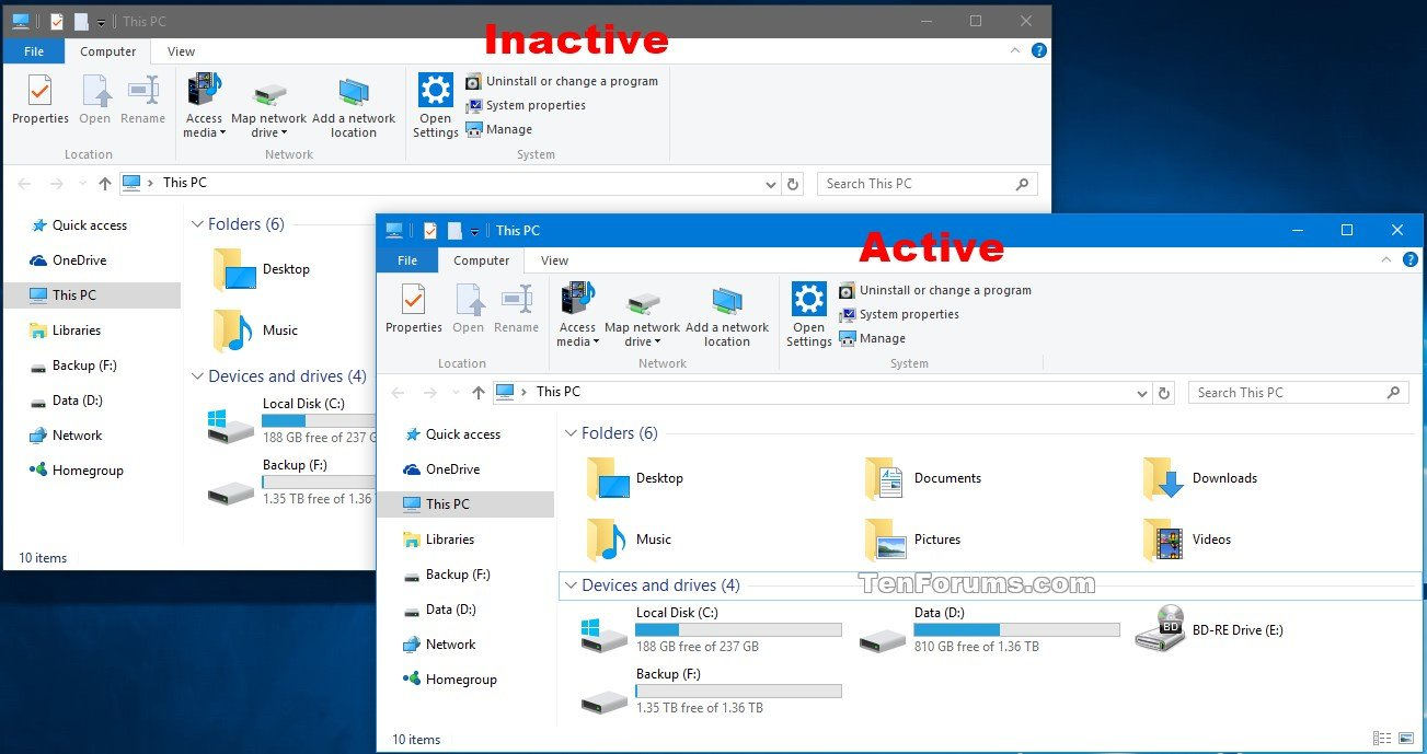 Change Color of Inactive Title Bar in Windows 10 | Tutorials